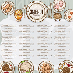 menu restaurant template design hand drawing graphic