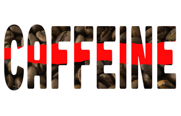The word caffeine on a white background