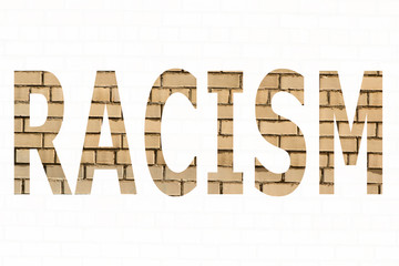 The word racism on a white background