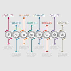 Vector infographic template for diagram, graph, presentation, chart, business concept with 8 options.
