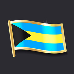 flag of Bahamas in the form of badge, flat image