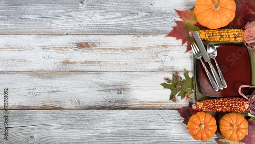 Basic dinner setting with autumn foliage and other fall