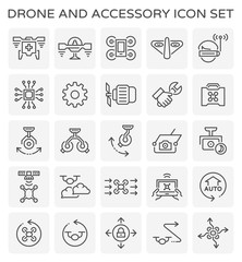 Vector line icon of drone and accessory.