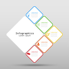 Infographics of 5 square elements options