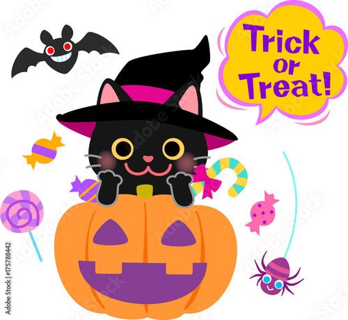 黒猫のハロウィンイラスト Stock Image And Royalty Free Vector Files