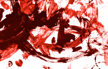 Blood paint stroke Isolated on white paper background. Red acrylic paint stroke texture grunge. Abstract acrylic hand painted splash. Murder, suicide and killing. Close up.