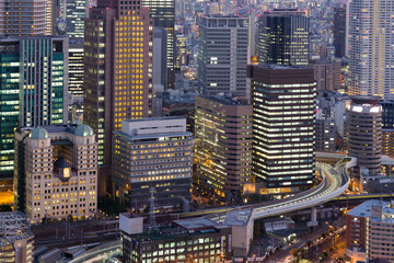 Office building city downtown light close up, Umeda Japan night view