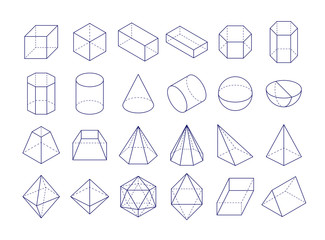 3D geometric shapes. Outline objects