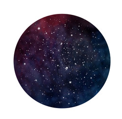Hand drawn stylized grunge galaxy or night sky with stars. Cosmos illustration in circle. Brush and drops.