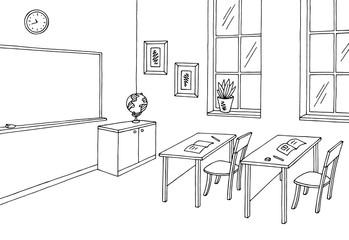 Classroom graphic black white interior sketch illustration vector