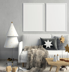 Modern Christmas interior of Scandinavian style. 3D illustration. poster mock up