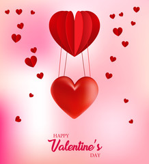 Valentine's day abstract background with pink paper hearts. Valentines day with paper cut red heart shape balloon flying and hearts decorations in white background. Vector illustration.