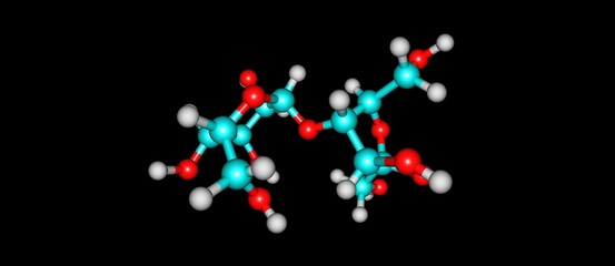 Lactulose molecular structure isolated on black