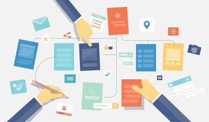 flat vector mobile application design concept