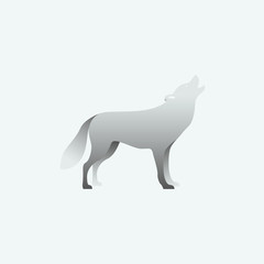 Vector illustration of gray wolf. Isolated on gray background. Side view.