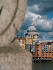 St Pauls Catherdal seen through railing of Southwark Bridge, London, UK