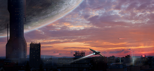 Sci-fi city with planet and spaceships, photo manipulation, Elements furnished by NASA. 3D rendering