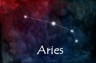Aries horoscope or zodiac or constellation illustration