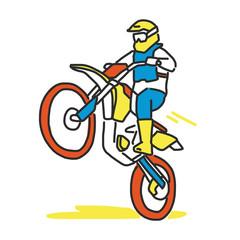 Motocross illustration line drawing.