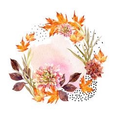 Poster de jardin Empreintes Graphiques Autumn watercolor wreath on splash background with flowers, leaves, doted circles.