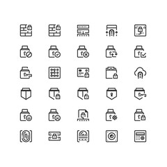 Minimal icon set of Security Vector Line Icons Collection , good choice to use for website project , Ui and Ux design, mobile app and more. All vector icons based on 32px grid.