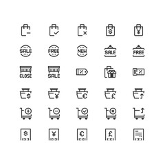 Minimal icon set of Shopping Vector Line Icons Collection , good choice to use for website project , Ui and Ux design, mobile app and more. All vector icons based on 32px grid.