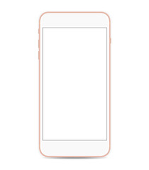 smartphone vector mockup with blank screen isolated on white background.