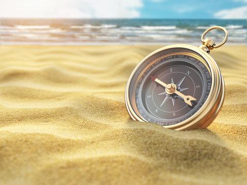 Compass on sea sand. Travel destination and navigation concept.
