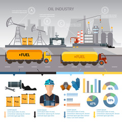 Oil industry infographics vector, extraction and processing products transportation of oil oilman works
