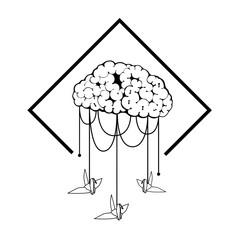 brain vector illustration hang bird origami. cloud in sky with bird. illustration vector and tattoo design. line art minimal.