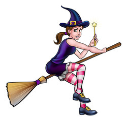 Cartoon Witch on Broomstick with Magic Wand