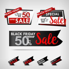 Collection of black friday web tag banner promotion sale discount style vector illustration 001