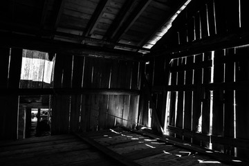 Old abandoned wooden storage dark and spooky urbex Finland