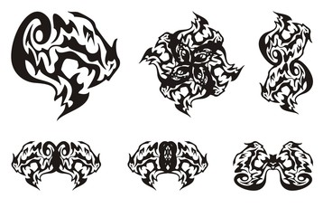 Dragon head symbols in tribal style. Terrible dragon head with an open jaw and double dragon symbols formed from it for your design