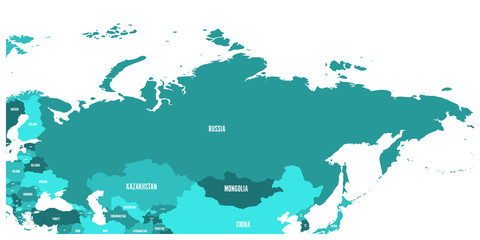Political map of Russia and surrounding European and Asian countries. Four shades of turquoise blue map with white labels on white background. Vector illustration.