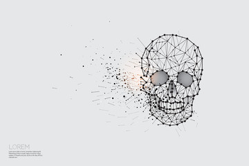 The particles, geometric art, line and dot of Skull.
