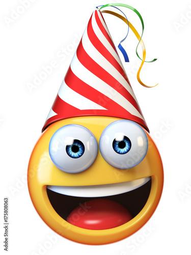Celebration Emoji Isolated On White Background Emoticon With Birthday Cap 3d Rendering