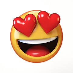 Falling in love emoji isolated on white background, heart shaped eyes emoticon tongue 3d rendering