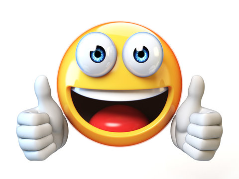Thumbs up emoji isolated on white background, emoticon giving likes 3d rendering