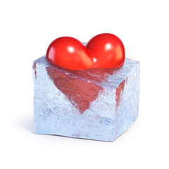 Frozen heart melts down 3d rendering