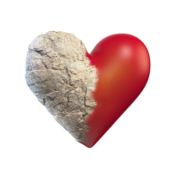 Heart half way turned to stone 3d rendering