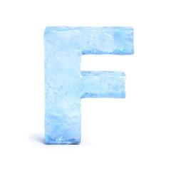 Ice font 3d rendering, letter F