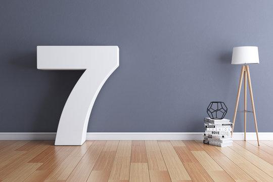 Mock up interior font 3d rendering number 7