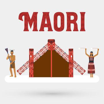 Flat design, Illustration of Maori people and Maori meeting house, Vector