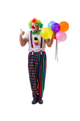 Funny clown with balloons isolated on white background