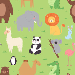 Cartoon animals wildlife wallpaper zoo wild characters background for kids illustration vector seamless pattern with c