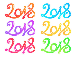multicolor Hand drawn lettering greeting card set 2018 Happy New Year Vector illustration