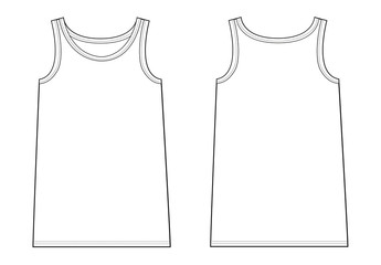 tank top garment sketch for fashion industry