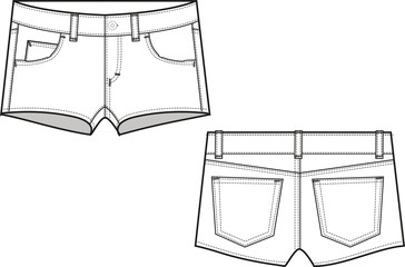 denim shorts garment sketch for fashion industry