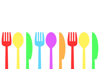 Fork, spoon and knife, time to eat concept, stock vector illustration